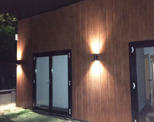 Timba cladding project with night lighting - Rosanna