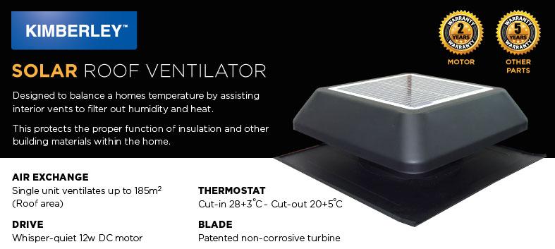 Kimberley Solar Roof Ventilators | Melbourne | Roofrite