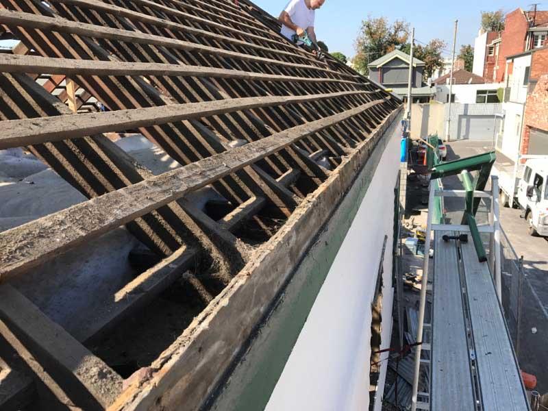 metal roof stripped for metal reroof - Albert Park (image)