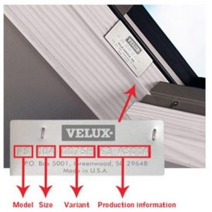 Velux Product ID Data Plate