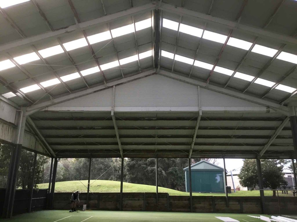 Tennis Pavillion before corrugated cladding replacement (image)