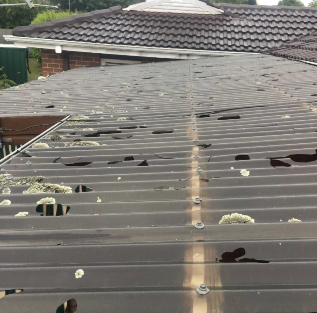 Hail damaged polycarb roofs replaced - Melbourne (image)