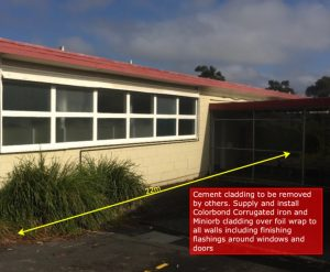 School Colorbond Wall Cladding - Before