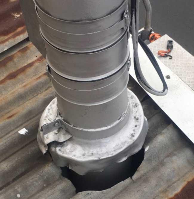 Replace Shopfront Metal Verandah Roof Thornbury | Power Pole Penetration Before | Melbourne | Roofrite