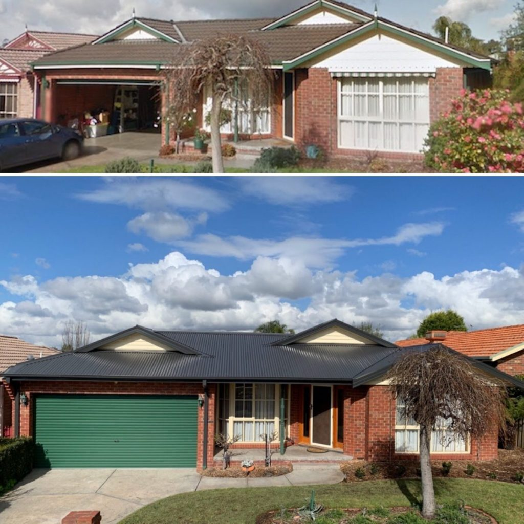 Tile to metal reroof Knoxfield Before and After (image)