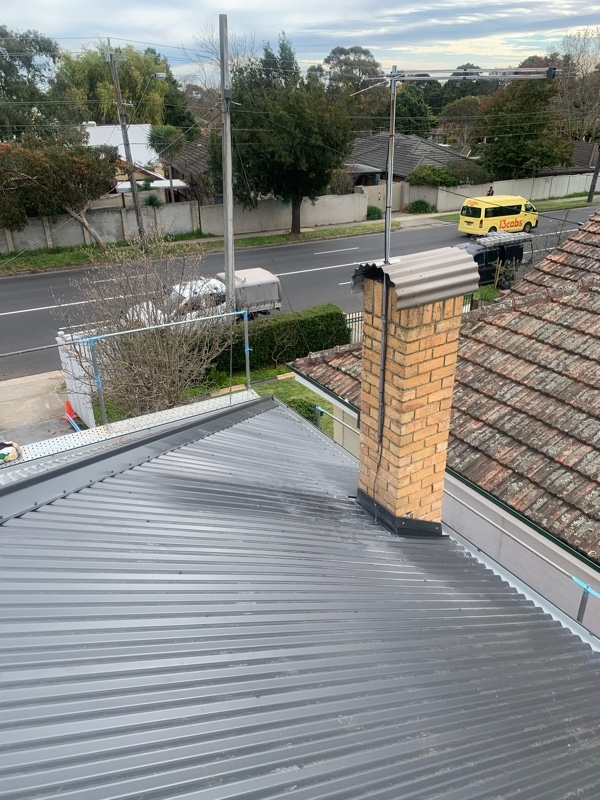 Tiles To Colorbond Metal Roof | Chimney Flashed | Mitcham | Melbourne | Roofrite