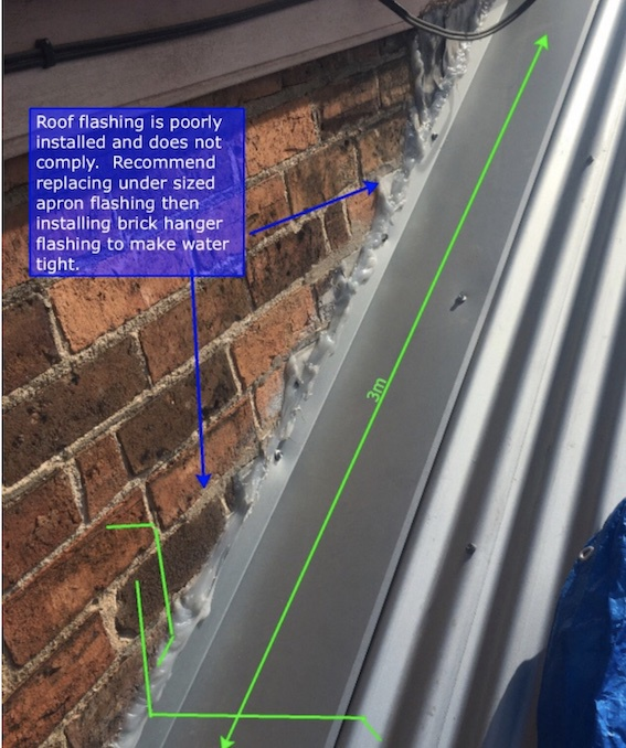 Poorly installed apron flashing   Before   Albert Park   Roofrite