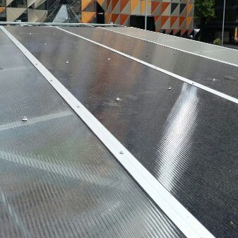 Ampelite Lexan Thermoclear Twin-wall Polycarbonate installed - RMIT BBQ Area (image)